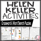 Helen Keller Activities Crossword Puzzle and Word Search Find