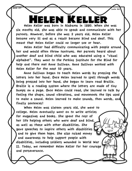 Helen Keller Differentiated Passages