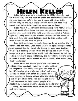 Helen Keller Differentiated Passages