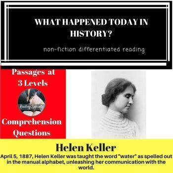 Helen Keller Differentiated Reading Passage April 5
