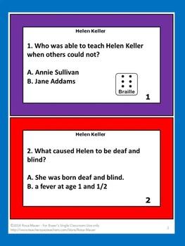 Helen Keller Task Cards