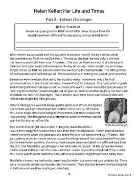 Helen Keller Biography Informational Texts Activities Grade 4, 5, 6