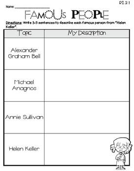 Helen Keller (Journeys 2nd Grade - Supplemental Materials)