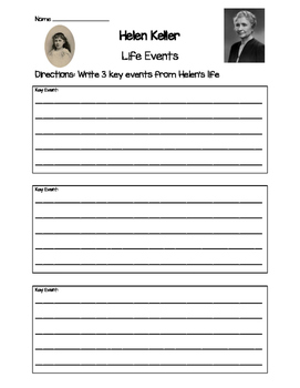 Helen Keller -Key Life Events Worksheet