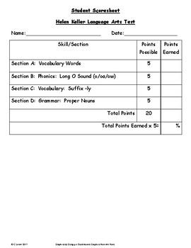 Helen Keller ~ Language Arts Test ~ 2nd Grade ~ HMH Journeys