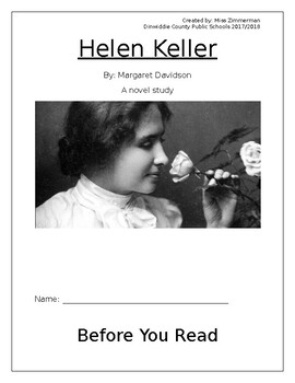 Helen Keller Novel Study
