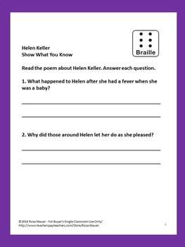 Helen Keller Poem and Literacy Packet