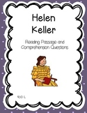 Helen Keller Reading Comprehension - Biography and Questions
