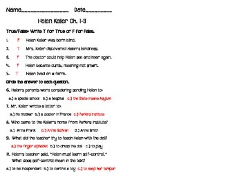 Helen Keller Scholastic Biography Chapter Quizzes