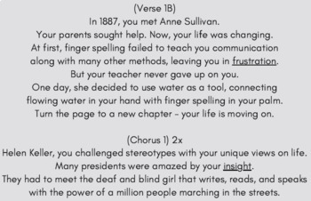 Helen Keller Sequence of Events Reading Passage and Worksheets Using Rap Song