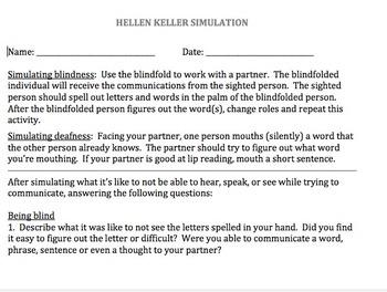 Helen Keller Simulation