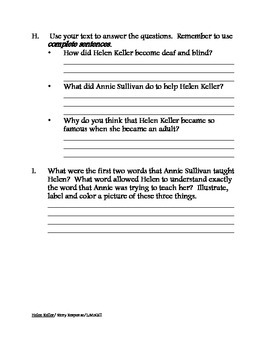 Helen Keller Story Response