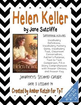 Helen Keller Supplemental Activities 2nd Grade Journeys Unit 3, Lesson 14