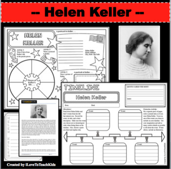 Helen Keller Timeline Poster Acrostic Poem Activity with Reading Passage