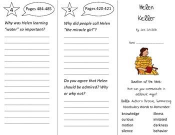 Helen Keller Trifold - Journeys 2nd Grade Unit 3 Week 4 (2014, 2017 Common Core)