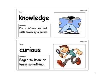 Helen Keller Vocabulary Cards