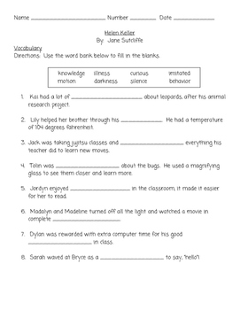 Helen Keller Vocabulary and Comprehension Test SOL Aligned Questions