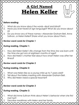Helen Keller Biography Activities Guided Reading