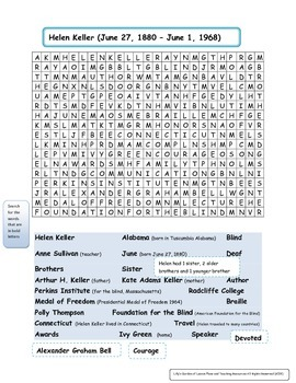 Helen Keller Word Search