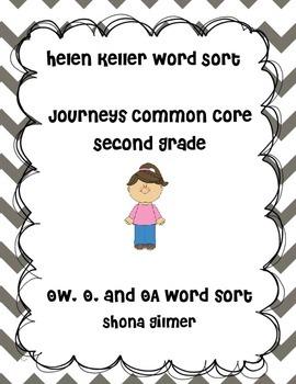 Helen Keller Word Sort o, ow, oa