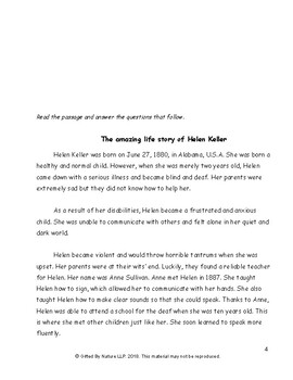 Helen Keller and Braille Comprehension (Reading and Understanding) and Language