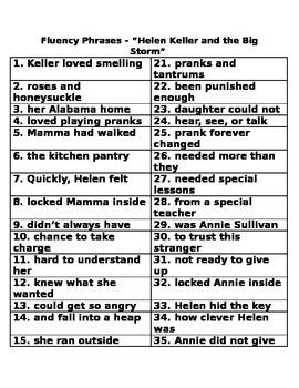 Helen Keller and the Big Storm Fluency Phrases
