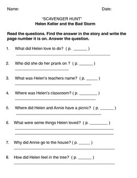 Helen Keller and the Big Storm - SCAVENGER HUNT