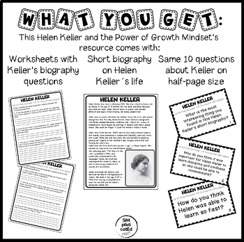 Helen Keller and the Power of Growth Mindset - Activities, Puzzle, and More!