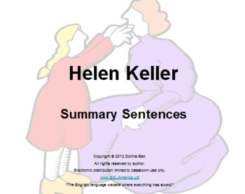 helen keller book report summary Helen keller, the story of my life essays: over 180,000 helen keller, the story of my life essays, helen keller, the story of my life term papers, helen keller, the story of my life research paper, book reports 184 990 essays, term and research papers available for unlimited access.