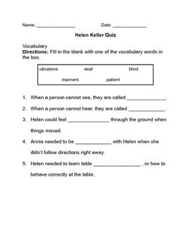 Helen Keller by Margaret Davidson Quiz