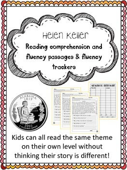 Helen Keller fluency and comprehension leveled passages