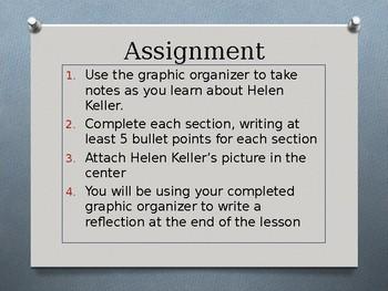 Helen Keller- power point presentation, graphic organizer, reflection journal