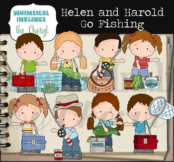Helen and Harold Go Fishing Clipart Collection