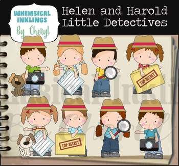 Helen and Harold Little Detectives Clipart Collection