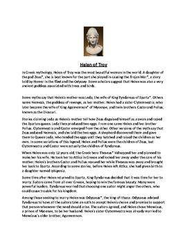 Helen of Troy Article Story and Assignment