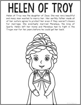 Helen Of Troy Greek Mythology Informational Text Coloring