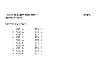 """Helen on Eighty-sixth Street"" Common Core/Keystone Aligned Quiz/Explanatory Key"