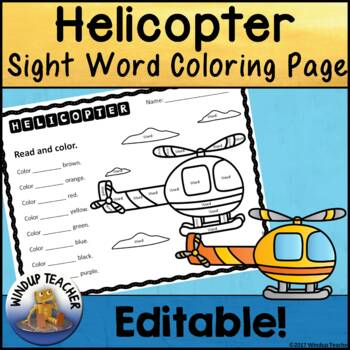 Helicopter Color the Word Activity Sheet *Editable*