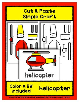 Helicopter  - Cut & Paste Craft - Super Easy perfect for Pre-K & Kindergarten