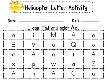Helicopter Letter Identification Activity Worksheets
