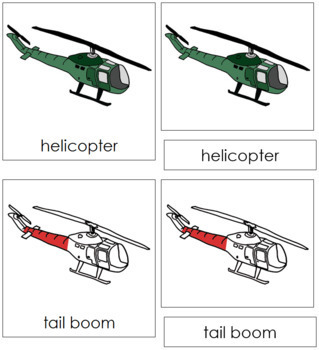 Helicopter Nomenclature Cards (Red)