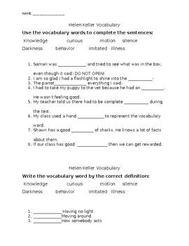 Helen Keller Vocabulary Journey's 2nd Grade