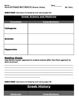 Hellenistic Greece: Math, Medicine, Science, History graphic organizer