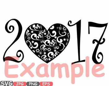 Hello 2017 Heart Happy New Year SVG clipart Winter quotes word art holiday -454s