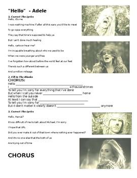 Hello - Adele Listening Activity