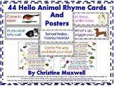 Hello and Welcome Animal Rhyme Cards & Posters, Farm, Zoo,