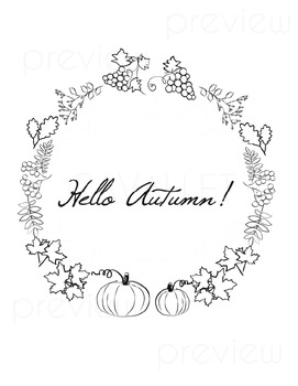 {FREEBIE} Hello Autumn - Fall and Thanksgiving Colouring Digital Frames