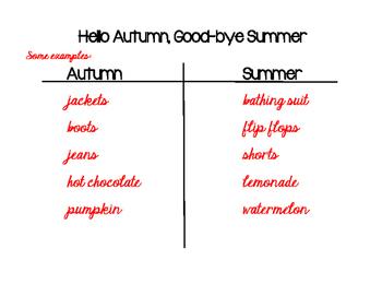 Hello Autumn, Good-bye Summer