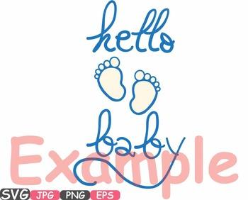 Hello Baby Feet wordart iron on shirt Monogram Silhouette school Clipart 443s
