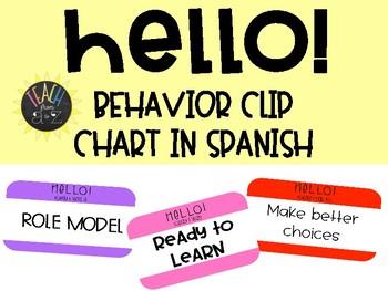 Hello! Behavior Clip Chart in SPANISH